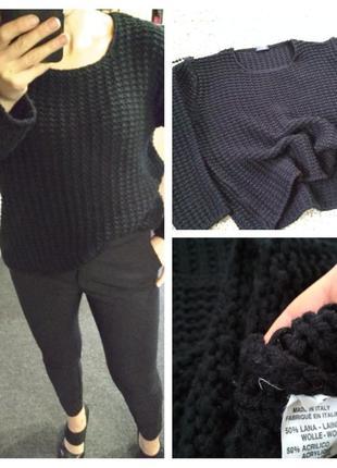 Стильный шерстяной свитер,объемная вязка, италия , р. 40-42