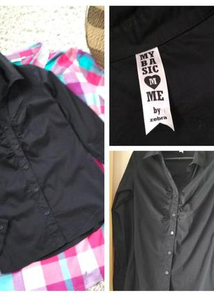 Базовая черная блуза, рубашка, zebra, p. s-m