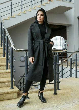 Пальто женское с поясом, демисезонное, серое, весна, осень, по...