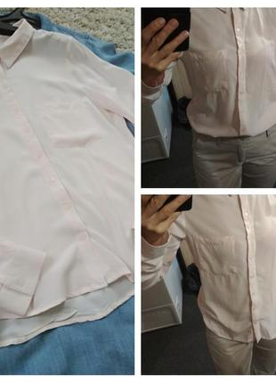 Нежная блуза рубашка в пудровом цвете, вискоза, р. 12-14