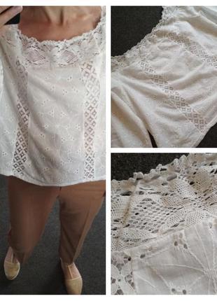 Шикарная нежная катоновая блуза с открытыми плечами, р. 14-18