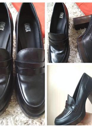 Шикарные кожаные туфли лоферы броги на толстом комфортом каблу...