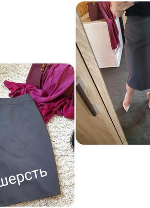 Классическая юбка карандаш ,шерсть,серая, bianco. p. 44