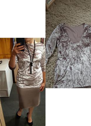 Шикарная бархатная/велюровая кофточка/блуза с оригинальной спи...