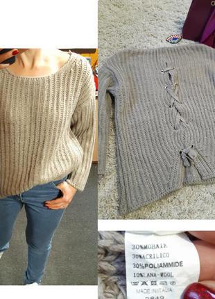Стильный свитер оверсайз  крупная вязка  с переплетом на спине...