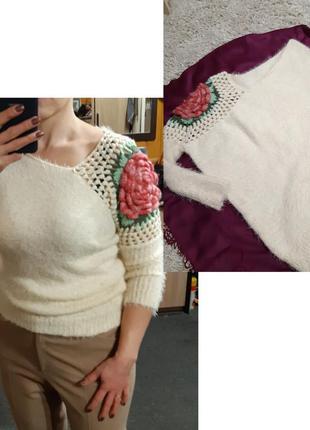 Очень красивый асиметричный свитер травка  с оригинальным деко...