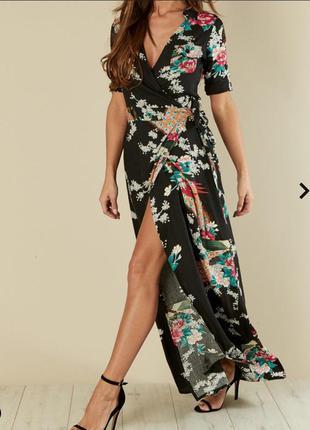 Шикарное платье макси на запах в цветы и птицы tallgirls разме...