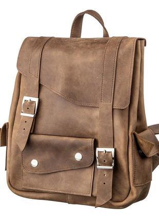 Рюкзак женский кожаный винтажный casual коричневый рыжий стиль...