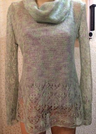 Мохеровый мягкий теплый свитер паутинка ручная работа