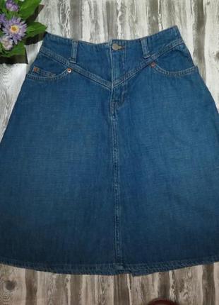 Джинсовая юбка-трапеция размер 44-46 большой выбор одежды по п...
