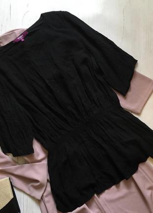 Чёрная блуза с коротким рукавом (3xl/4xl)