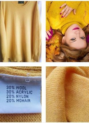 Яркий свитер oversaze цвета охры !