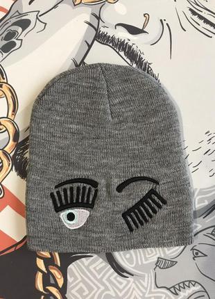 Серая  прикольная шапка для девочек