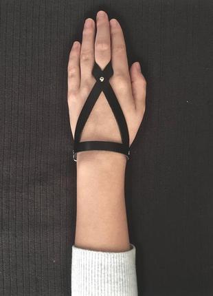 Браслет с кольцом из натуральной кожи (все размеры)