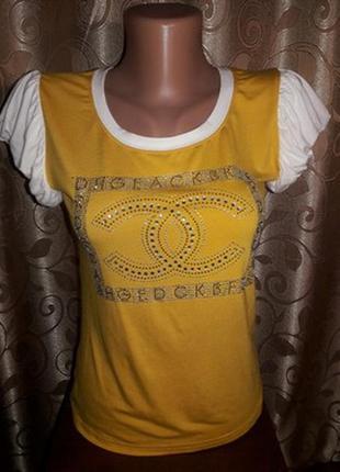 ✨✨✨новая!стильная трикотажная футболка, блузка со стразами sni...