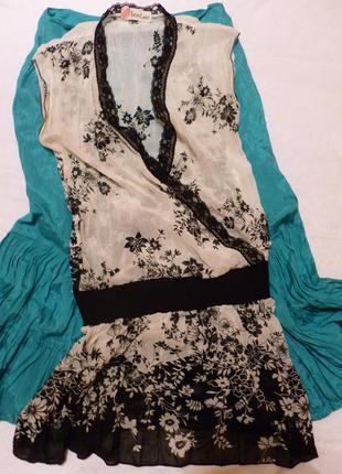 Легкая шифоновая блуза туника кружево цветы soo lee