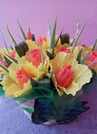 Букет из конфет. Корзина цветов. Сладкий подарок.