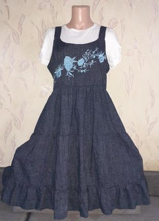 Льняной сарафан стилизованный под джинс, можно беременным
