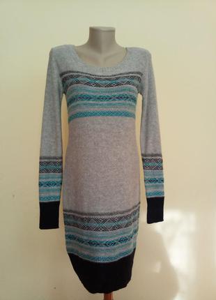 Теплое трикотажное платье с ангорой