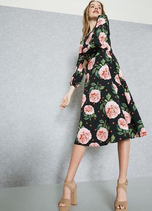Платье миди цветочный принт