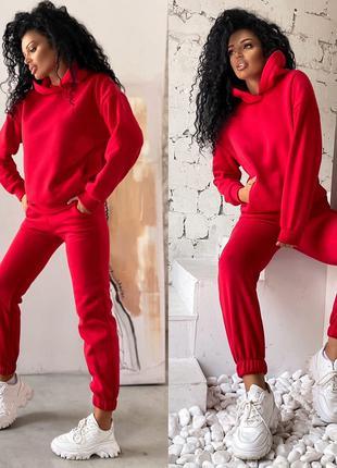 Женский спортивный костюм трехнить на флисе красный