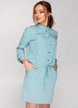 Стильное платье мятное, размер М