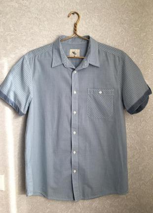 Мужская фирменная рубашка на коротком рукаве, сток
