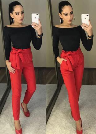 Красные брюки prague/штаны/с рюшей