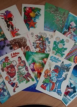 Новогодние открытки СССР 1969 - 1989 гг., чистые