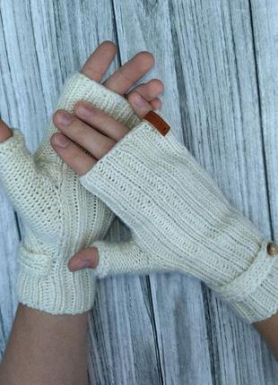 Мужские перчатки без пальцев - вязаные митенки для мужчин