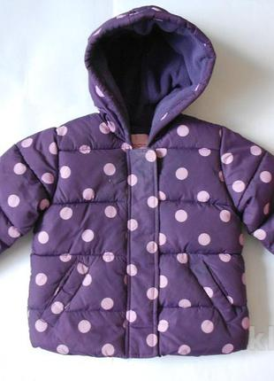 Демисезонная куртка в горошек на флисе 1,5-2годика