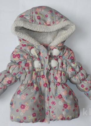 Демисезонная теплая куртка 9-12 мес. цветы