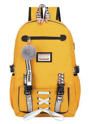Школьный рюкзак для девочки harvard с usb, замочком и меховым ...