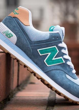 Кроссовки женские замшевые new balance 574 blue gray mint индо...