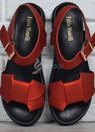 Босоножки женские с бантом fabio monelli красные с черным на п...