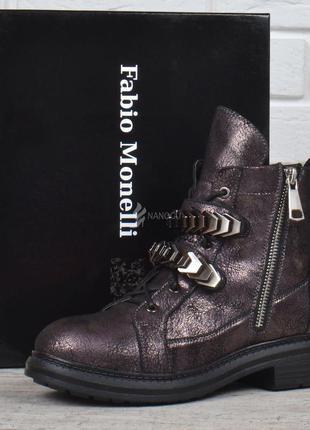 Ботинки fabio monelli металлик с заклепками женские высокие бо...
