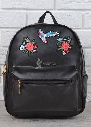 Рюкзак женский черный с вышивкой цветы и птица flowers and birds