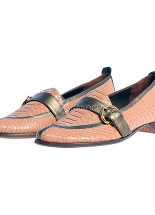 Туфли женские кожаные лодочки пудровые с золотистым португалия