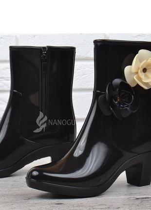 🌈резиновые сапоги женские черные на каблуке резиновые сапоги б...