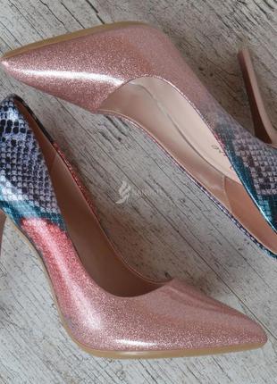 Туфли женские лодочки на шпильке розовые перламутр splashes of...