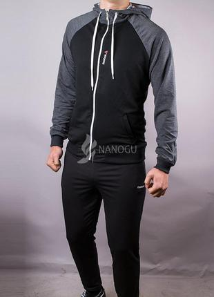 Спортивный костюм мужской reebok черный серые плечи на молнии ...