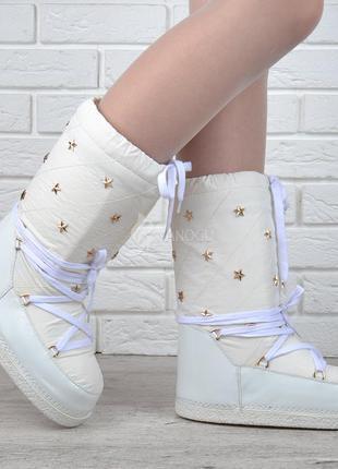 Луноходы термо до -30 moon boots milk дутики женские белые сап...
