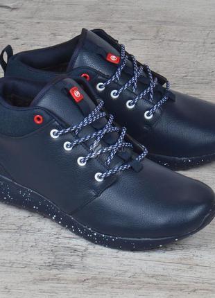 Ботинки кожаные roshe мужские зимние темно-синие спортивные