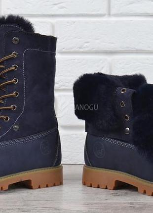 Ботинки натуральная опушка waterproof женские зимние на шнуров...