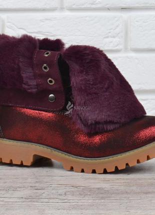 Ботинки женские зимние на шнуровке натуральная опушка waterpro...