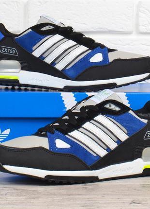 Кроссовки adidas zx 750 мужские зимние кожаные на меху черные ...
