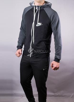 Спортивный мужской костюм nike черный с серым на молнии с капю...