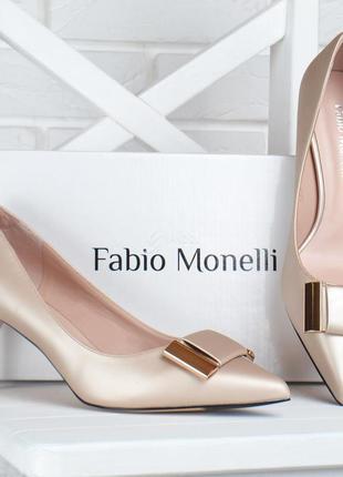 Туфли fabio monelli vogue бежевые лодочки женские на каблуке ш...