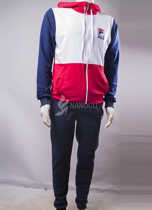 Спортивный костюм мужской fila синий с белым и красным на молн...
