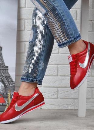 Кроссовки женские кожаные nike cortez красные серебро